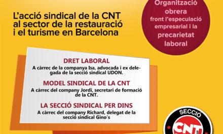 "[Barcelona] Jornada ""Sindicalisme i Hostaleria"""
