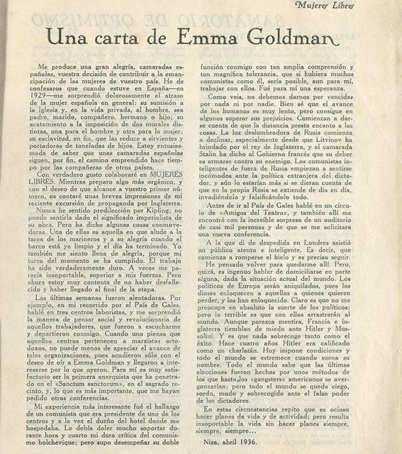 Una carta d'Emma Goldman a Dones Lliures de la CNT